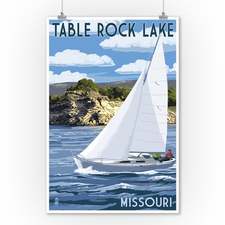 Table Rock Lake, Missouri - Sloop Sailboat & Lake - Lantern Press Artwork (9x12 Art Print, Wall Decor Travel Poster) (Child Wall Art Sailboat)