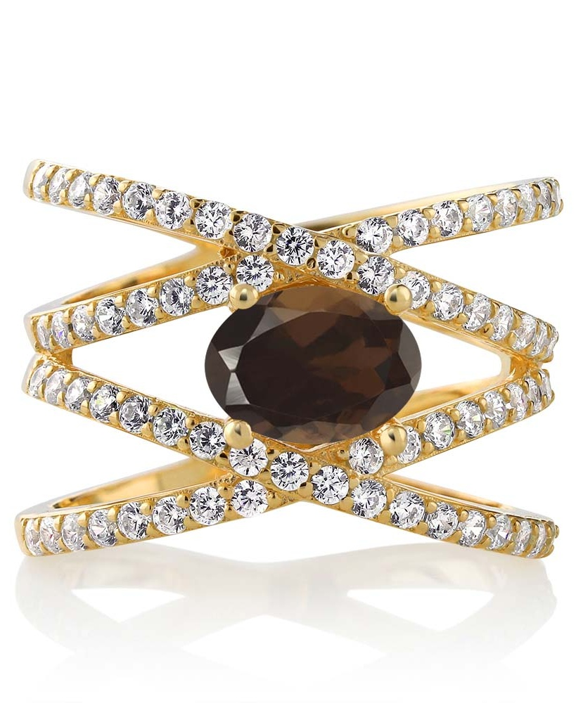 2.13 Ct Oval Brown Smoky Quartz 18K Yellow Gold Plated Silver Ring