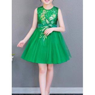 Kids Girls Round Neck Elegant Fancy Dress - Fancy Dresses For Girls