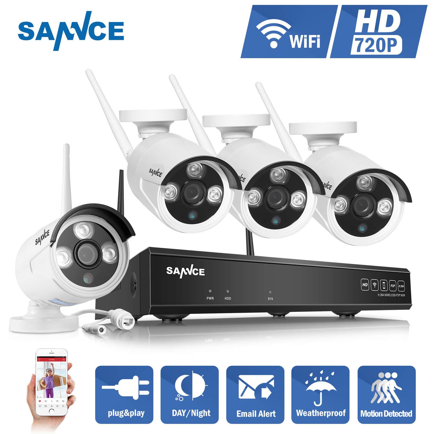 SANNCE 4CH 720P WIFI CCTV System HDMI NVR 4PCS 1.0 MP IR Outdoor P2P Home Wireless IP Camera Security System Surveillance Kit NO Hard Drive Disk