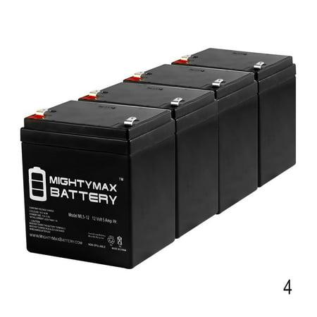Hi-Capacity Equivalent of NEWMOX HOME ALARM Battery 12V 5Ah - 4 Pack