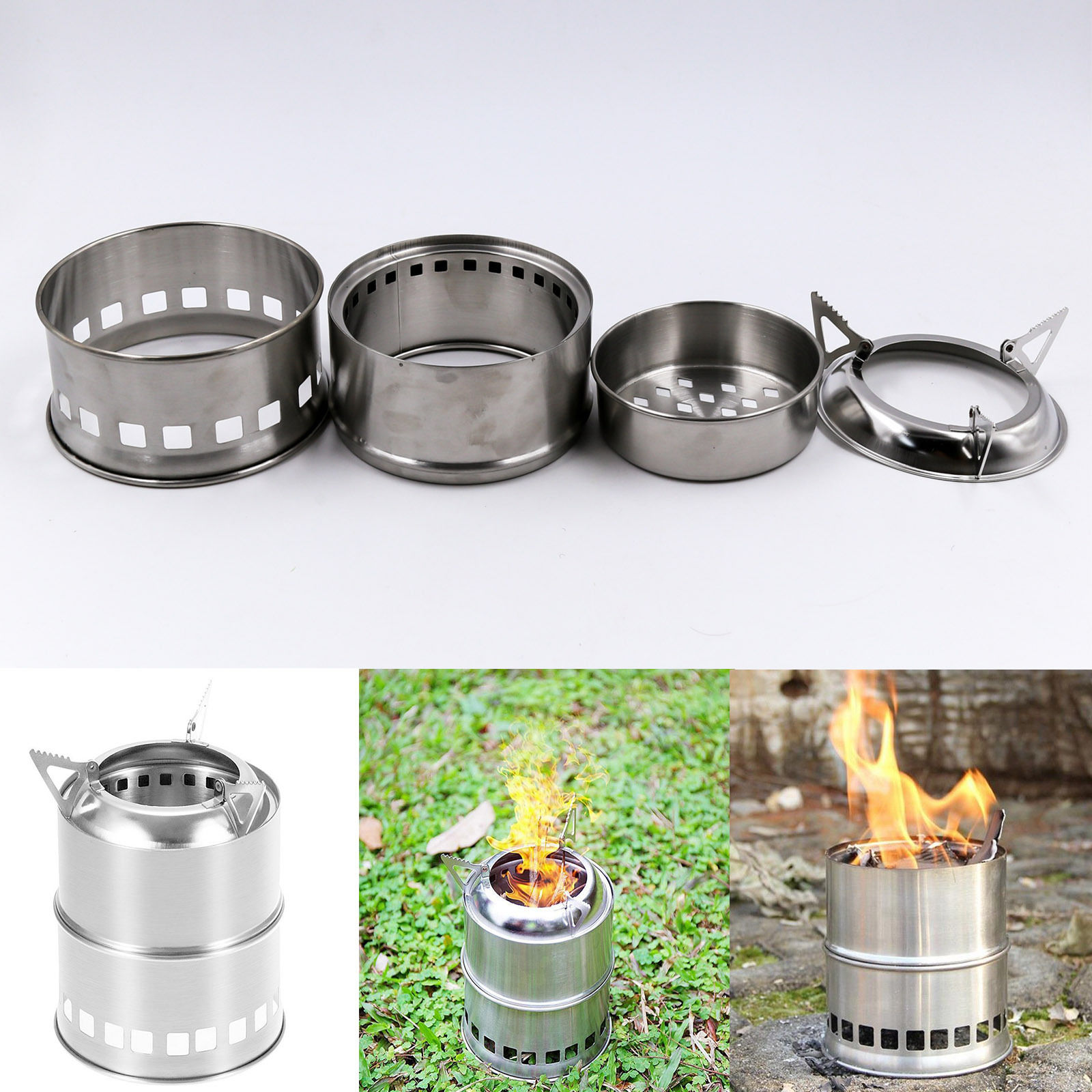Outdoor Camping Wood-burning Stove Backpacking Portable Survival BBQ Panic Camping Stove