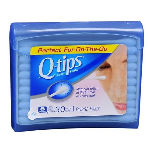 2 Pack - Q-Tips Cotton Swabs,Travel Size Purse Pack, 30 Swabs Each ()