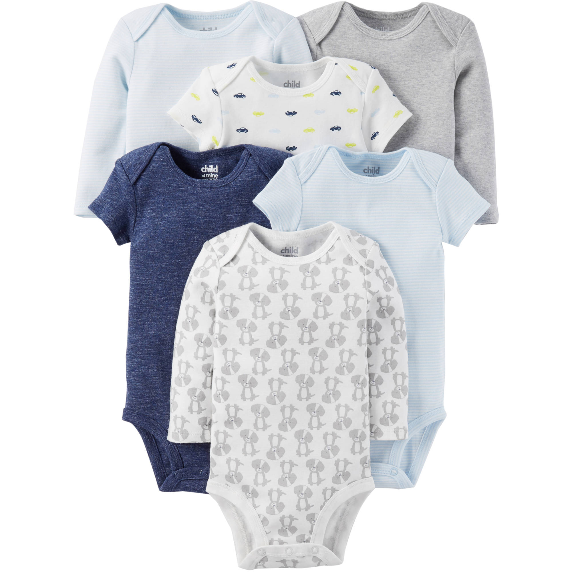 Child of Mine by Carter's Newborn Baby Boy Short and Longsleeve Bodysuit Set 6-Pieces
