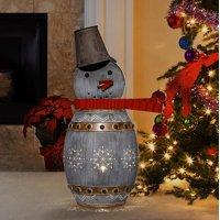 Alpine Corporation Metallic Barreled Snowman With Warm White LED Lights