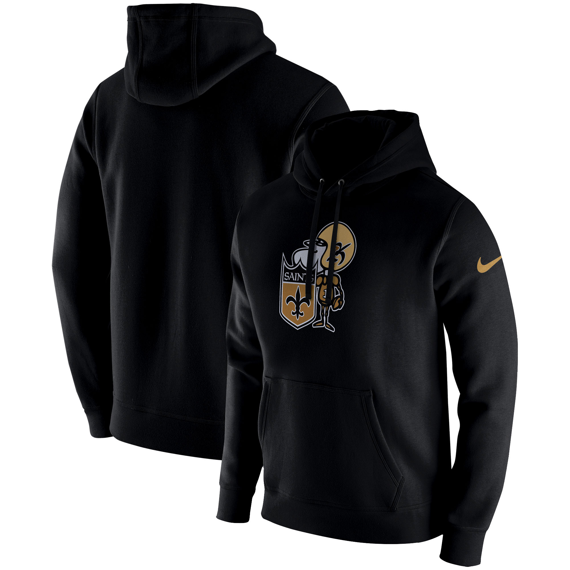 New Orleans Saints Nike Fan Gear Club Throwback Pullover Hoodie - Black