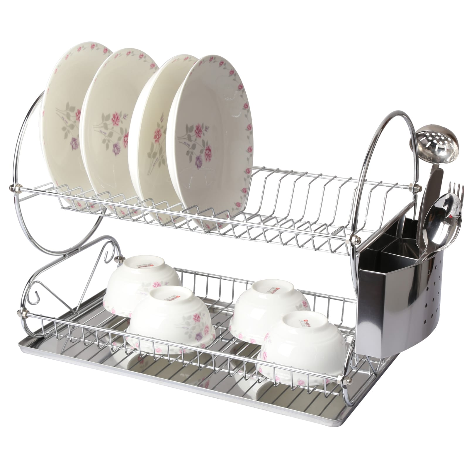 Mega Chef Chrome Plated 17.5 Inch Two Shelf Dish Rack by Supplier Generic