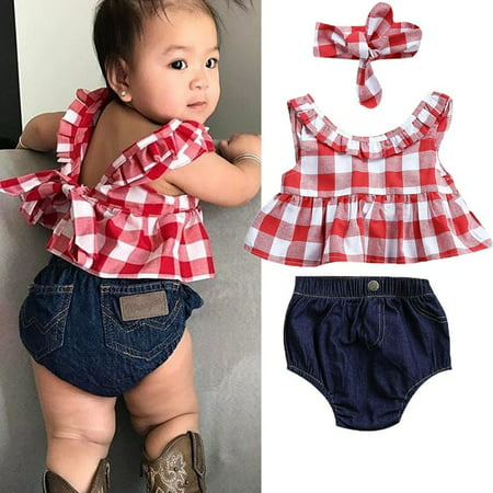 3pcs Kids Baby Girls Plaid Outfit Tops Vest+Denim Shorts Summer Clothes UK Stock