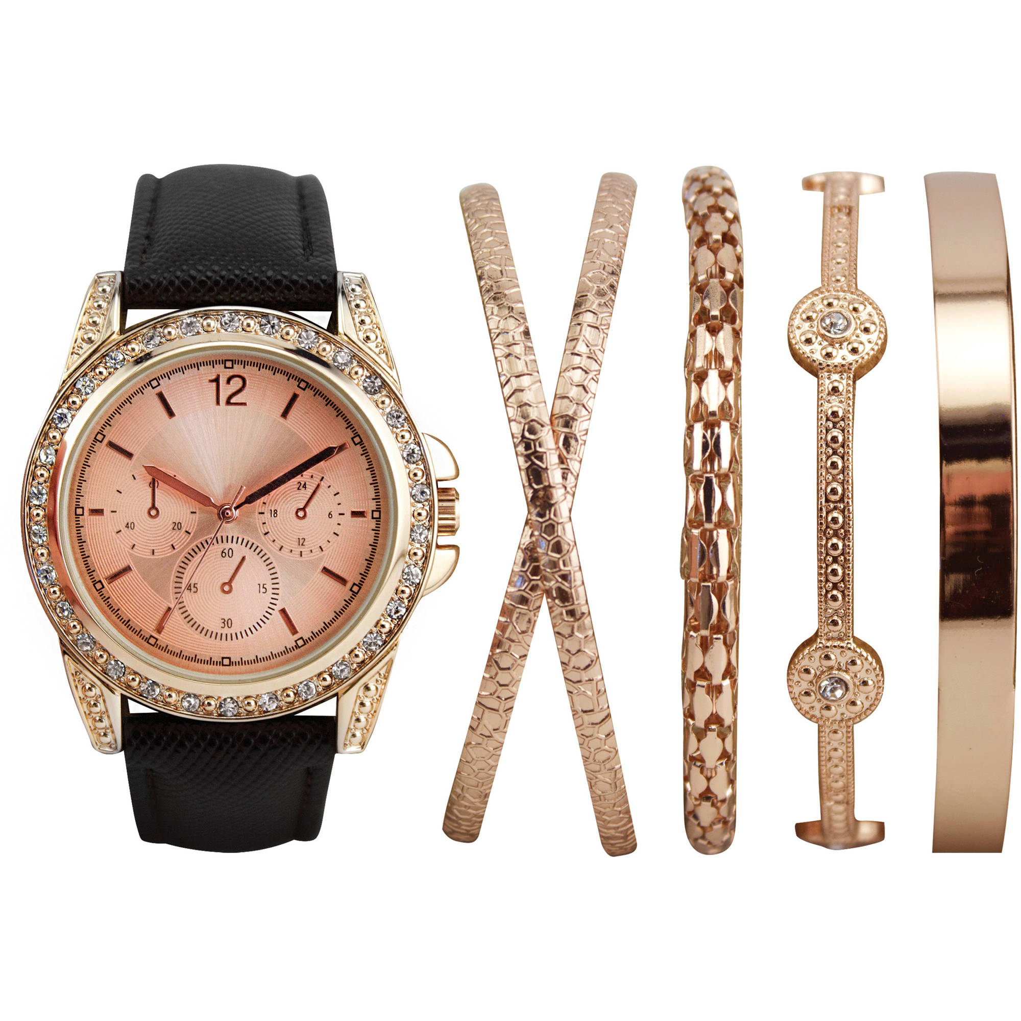Women's Stackable Rose Gold Watch Set with 4 Assorted Bracelets