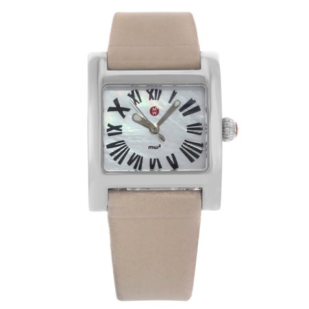 Pre-Owned Michele MW2 Mini 28mm White MOP Dial Square Leather Steel Quartz Ladies (Leather White Mop Dial)