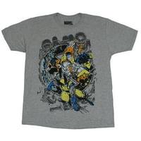X-Men (Marvel Comics) Mens T-Shirt - Wolverine Collossus Sentinl Strike Image