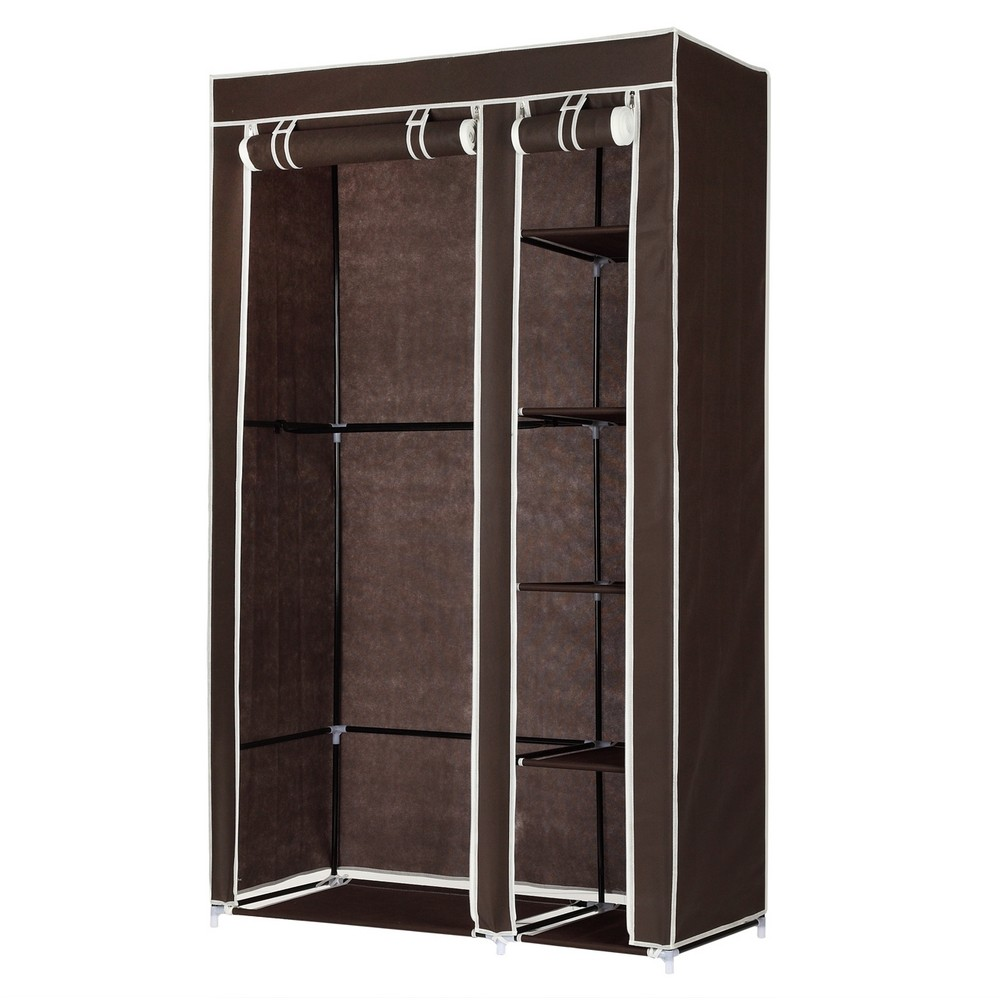 Homegear Double Fabric Portable Wardrobe Closet /Clothes Storage Rack Dark Brown