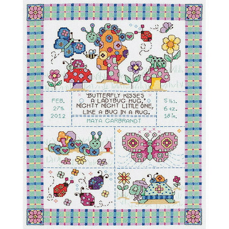 Janlynn Bug In A Rug Birth Record Counted Cross Stitch Kit