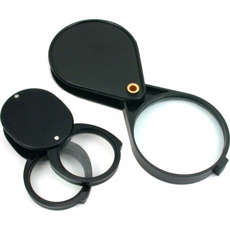 5X 4X 10X Magnifying Loupe Folding Pocket Magnifier 2Pc