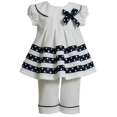 Bonnie Jean Navy Stripe White Dot Sailor Pant Set 3-6 months