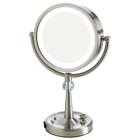 elizabeth arden 1x 10x magnification led lighted tall makeup vanity mirror w recessed jewelry. Black Bedroom Furniture Sets. Home Design Ideas
