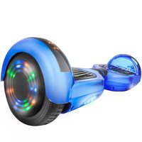 """Hoverboard UL2272 Certified 6.5"""" Flash Wheel Bluetooth Speaker with LED Light Self Balancing Wheel Electric Scooter - Chrome Blue"""