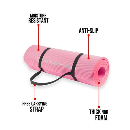 Victor.Fitness YogaThinkPink Anti-slip high-end NBR Yoga mat thick, comfortable, squishy, durable and well-padded with travel straps