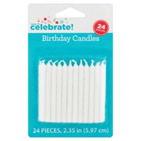(5 Pack) White Birthday Candles