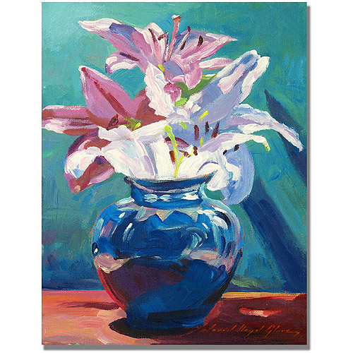 "Trademark Art ""Lilies in Blue"" Canvas Wall Art by David Lloyd Glover"