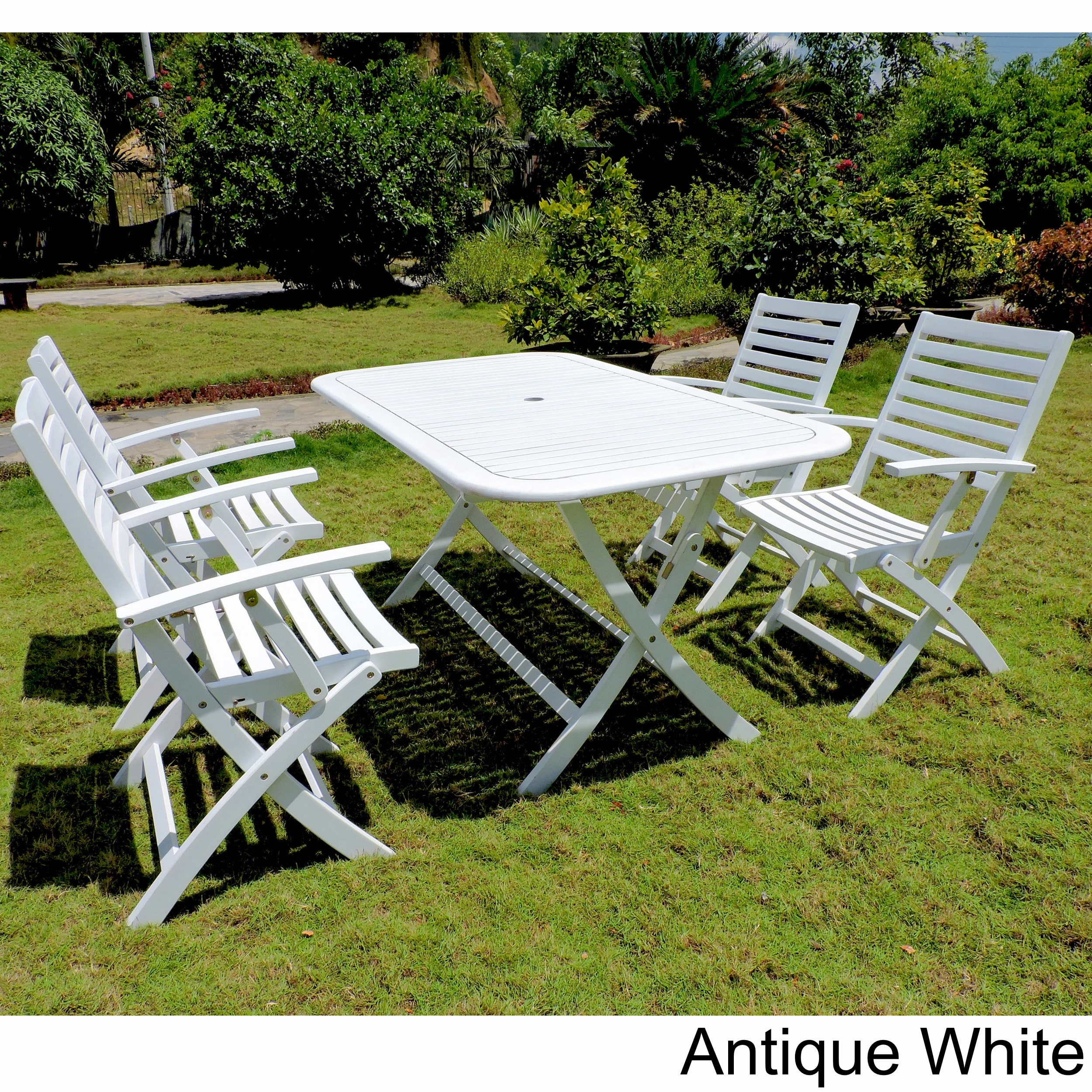 International Caravan  Potenza Acacia Hardwood Outdoor Folding Dining Set (Set of 5)