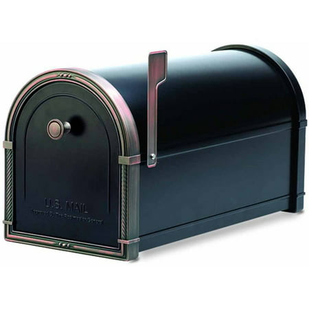 Architectural Mailboxes Coronado Mailbox, Black with Antique Bronze Accents