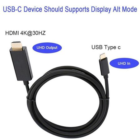 Type C USB-C to HDMI Cable HD Converter 6FT USB 3.1 Fast Data Transmission - image 1 de 10