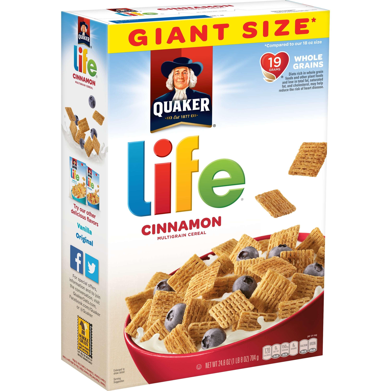 (2 Pack) Quaker Life Multigrain Breakfast Cereal, Cinnamon, 24.8 oz Box
