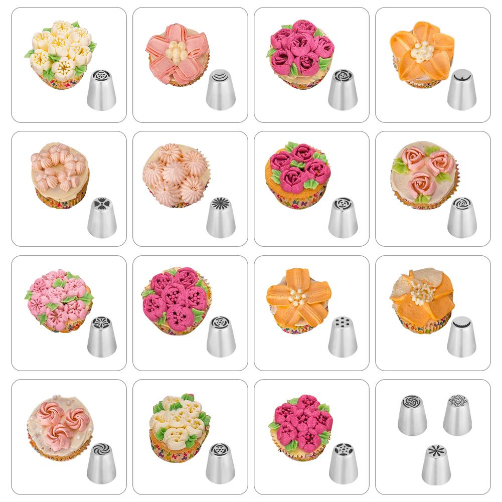 Russian Piping Tips,20 PCS Ymiko Russian Nozzles Piping Tips with 20 Disposable Piping Bags+ 2Colour Coupler Cake Decorating Set kit For Cake Cupcake