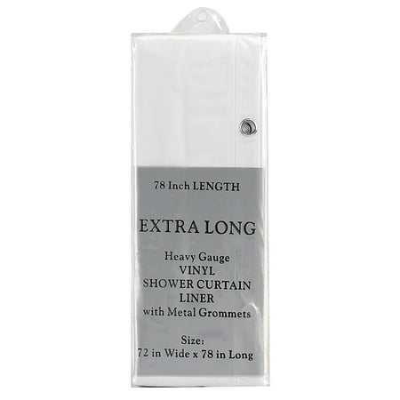 Extra Long White Vinyl Shower Curtain Liner W Metal Grommets 72x78