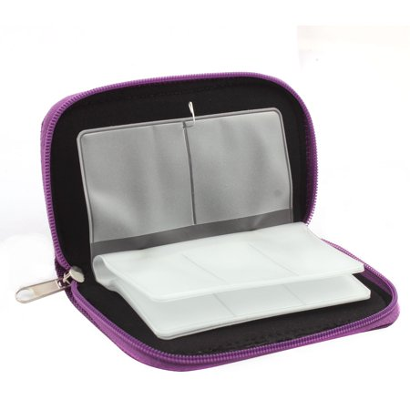 Nylon 22 Slots Storage Carrying Pouch Bag Box Purple for CF Micro SD Memory