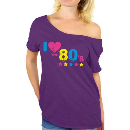 Awkward Styles 80s Shirt Off the Shoulder 80s Costumes 80s Tops I Love the 80s Shirt Party 80s Party Girl Shirt 80's Off the Shoulder Shirt 80s Rock T Shirt - 80s Purple
