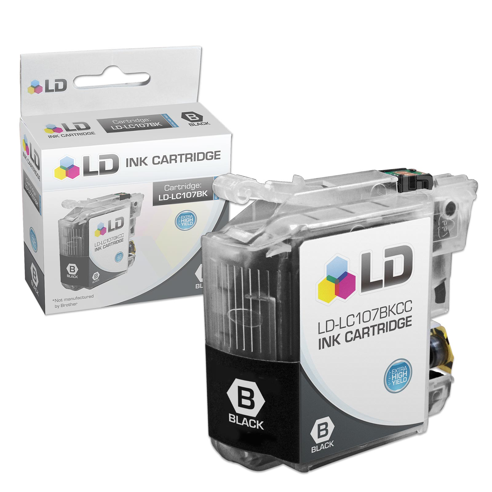 LD Brother Compatible LC107BK Super High Yield Black Ink Cartridge for use in MFC-J4310DW, MFC-J4410DW, MFC-J4510DW,