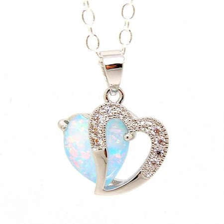 Tourmaline Collection (Ginger Lyne Collection Heart Lab Created Fire Opal CZ Pendant Chain)