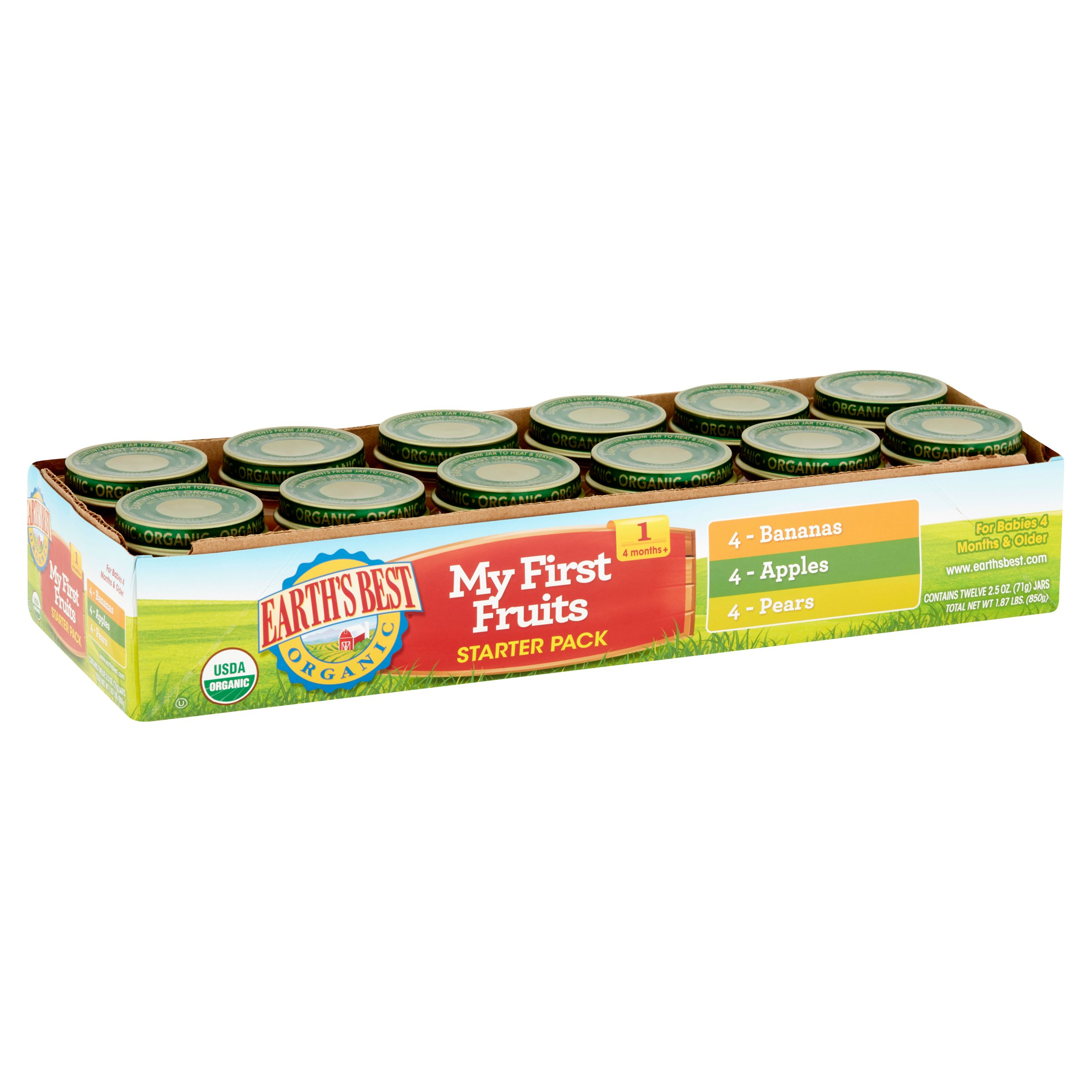 Earth's Best Organic My First Fruits Starter Pack Organic Baby Food 4 Months+, 12 count, 2.5 oz