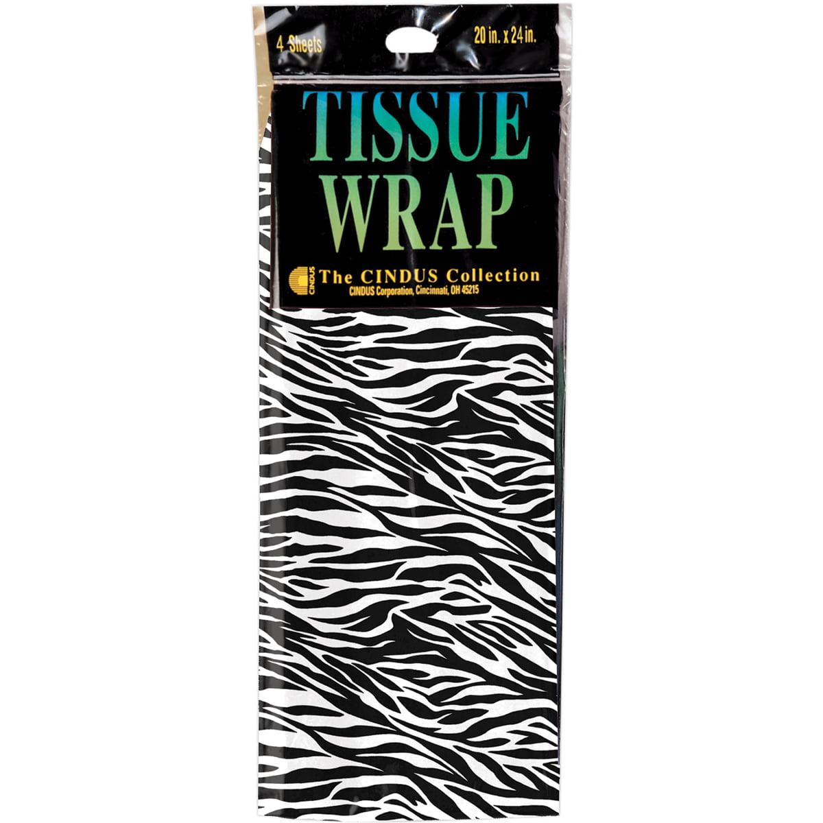 Tissue Gift Wrap 20 Inch X 20 Inch 4/Pkg-Zebra