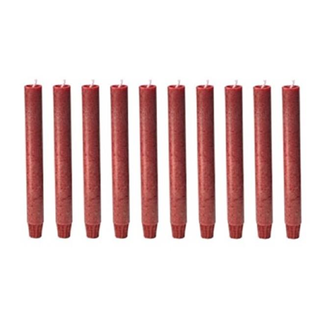Biedermann & Sons C188RD Footed Vegetable Wax Carriage Taper Candles - Red, Pack of 10