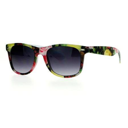 Floral Sunglasses (SA106 Floral Print Chic Horn Rim Sunglasses)
