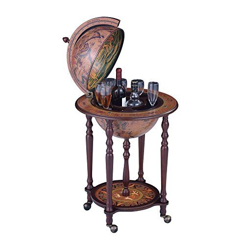 Wood Globe Wine Bar Stand 16th Century Italian Rack Liquor Bottle Shelf