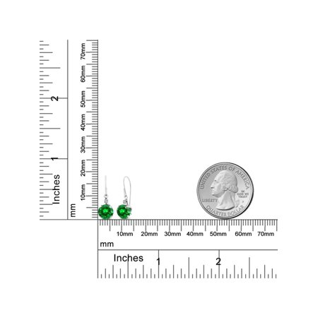 3.04 Ct Round Green Simulated Emerald White Topaz 14K White Gold Earrings - image 2 of 3