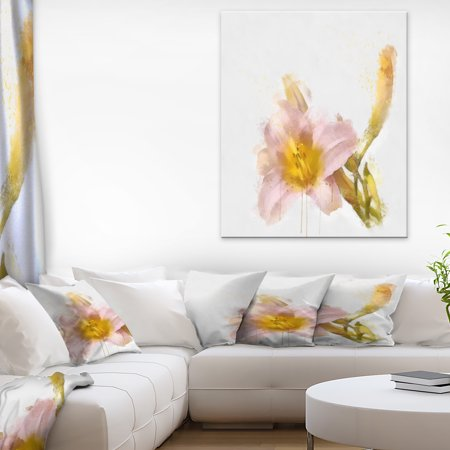 Watercolor Lily with Color Splashes - Floral Canvas Art Print - image 3 de 3