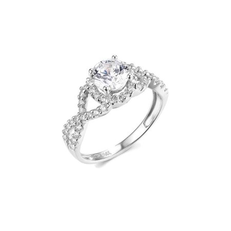 Solid 14k white Gold Round Cut Halo Wedding Engagement Ring with Side Stones, CZ Cubic Zirconia (1.25 ct.)
