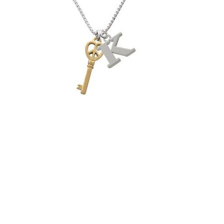 Goldtone Open Peace Heart Key Capital Initial K Necklace