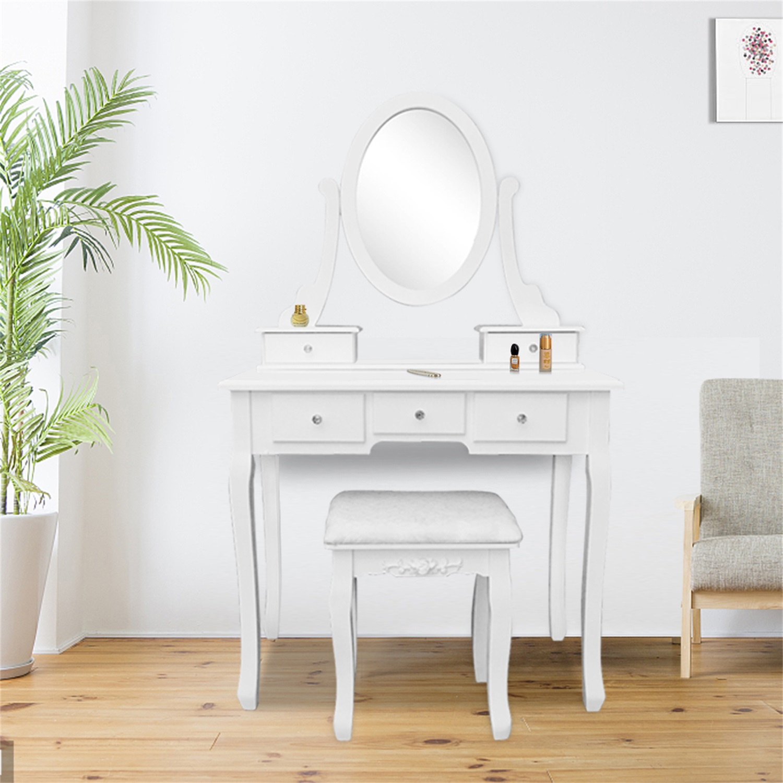 Modern Vanity Table Set 360 Rotation Single Mirror Dressing Table Vanity Makeup Table With 5 Drawers Dresser Desk Vanity Set For Bedroom White Walmart Com Walmart Com