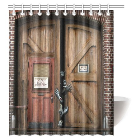 MYPOP Halloween Decorations Shower Curtain, Zombie's Tearing There Way out of a Grunge Door Bathroom Set with Hooks, 60 X 72 Inches - Halloween Decorations For Bathroom