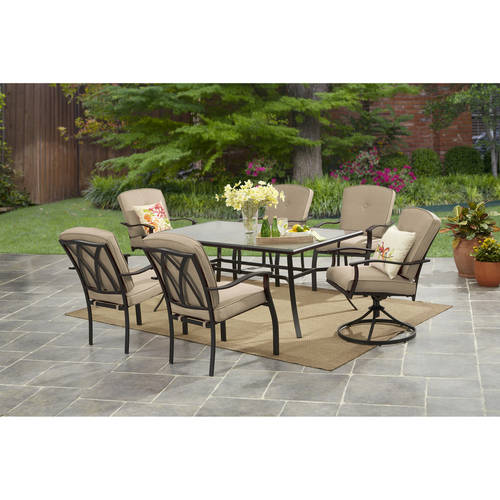 Mainstays Belden Park 7 Piece Dining Set Tan Walmart