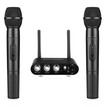 Excelvan K38 Dual Wireless Microphones with Receiver Box, Various Frequency High-end Microphone for Home Entertainment Conference Education
