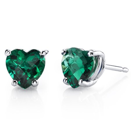 Peora 1.50 Ct T.G.W. Heart-Cut Created Emerald 14K White Gold Stud Earrings