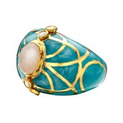 Moonstone Circular Baroque Ring in 14kt Gold-Plated Sterling Silver