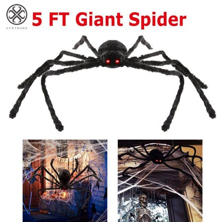 Wooden Outdoor Halloween Decorations (Luxtrada Halloween Spider for Outdoor Haunt House Halloween Decorations with LED Eyes and Sound –)